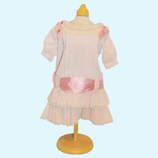 Vintage Doll Dress Sweet in Pink Drop Waist Satin Bows and Sash