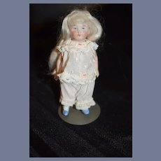 Antique Doll Miniature All Bisque Doll Jointed Dollhouse
