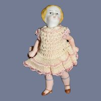 Antique Doll Miniature Bisque China Head W/ Unusual Head Jointed Swivel Head Dollhouse