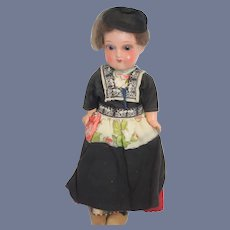 Antique Doll Painted Bisque Original Costume Glass Eyes