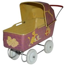 Wonderful Metal Old Doll Pram Carriage Buggy Litho Scene Adorable