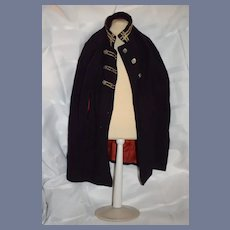 Wonderful Old Wool Doll Cape W/ The old Stripe Trim