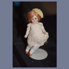Antique Doll Miniature All Bisque Miniature Jointed Dollhouse