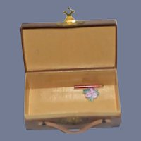 Old Miniature Doll Suitcase Traveling Case Candy Container Doll Size