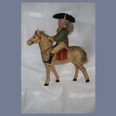 Antique Doll George Washington Candy Container Bisque Head on Horse Papier Mache