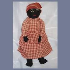 Antique Black Cloth Doll Rag Doll Stockinette Sewn on Features Large