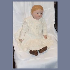 Antique Doll Oil Cloth Martha Chase Large Dressed