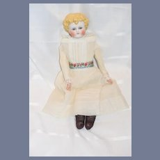 Antique Doll Parian Bisque Glass Eyes Closed Mouth Molded  Fancy China Head