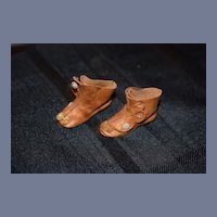 Wonderful Leather Doll Shoes Boots w/ Pom Pom's Buttons Fab Artist