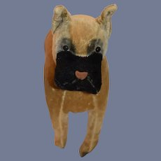 Wonderful Old Mohair Dog Boxer Large Perfect Display with Doll Jointed