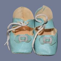 Old Doll Shoes Oil Cloth W/ Buckles and Heels Wonderful Color