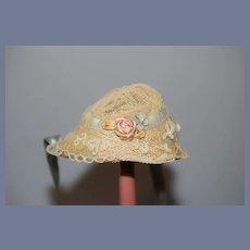 Sweet Vintage Doll Lace Hat Bonnet Petite Doll