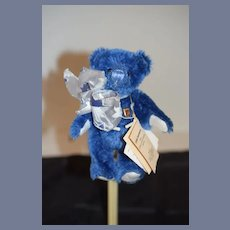 "Sweet Miniature Teddy Bear Blue W/ Tags Grisly Spielwaren UFDC Jointed German Bear ""Vincent"""