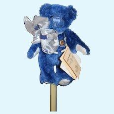 "Sweet Miniature Teddy Bear Blue W/ Tags Grisly Spielwaren UFDC Jointed German Bear ""Vincent"""