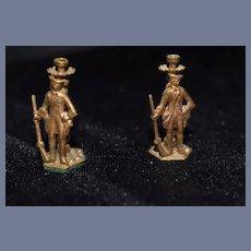 Vintage Doll Sweet Miniature Candelabra Candlesticks Figural Soldiers