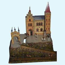 Wonderful Old Castle w/ Miniature Lead Soldiers Wonderful Diorama German Fortress Towers