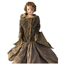 Antique Doll French Fashion Bisque Poupee Closed Mouth Fab Clothes