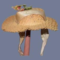 Old Wonderful Straw Doll Hat Bonnet