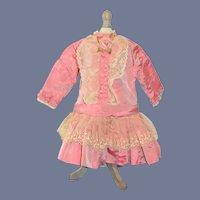 Antique Doll Dress Wonderful Lace Drop Waist Lace Fancy Flowers French Market