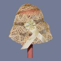 Wonderful Old Straw Doll Bonnet Unusual