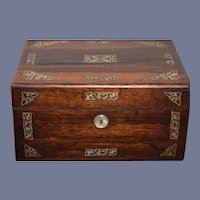 Antique Wonderful Pearl Inlaid Wood Sewing Box W/ Contents