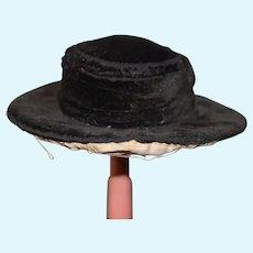 Antique Doll Hat Straw and Velvet Bonnet