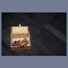 Miniature Doll Trunk Dollhouse Filled W/ Miniature Copper Molds Pipes Wonderful