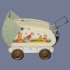 Old Ohio Art Co. Tin Doll Pram Buggy Carriage W/ Doll Scene Miniature