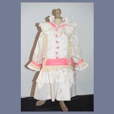 Wonderful Doll Dress High Collar Lace Drop Waist Over Sized Bow