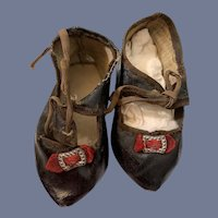 Antique Doll Shoes Signed H&H W/ Fancy Metal Bows