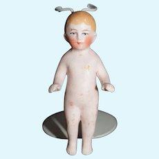Antique Doll All Bisque Frozen Charlie Miniature Dollhouse