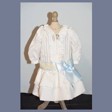 Sweet Vintage Doll Dress Hand Made Drop Waist Fancy Ruffles
