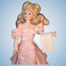 Vintage Susan Wakeen Porcelain Doll W/ Stand Fashion Star  Doll 5th Anniversary Stand