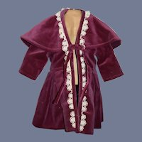 Lovely Doll Velvet Jacket Swing Coat W/ Cape Collar