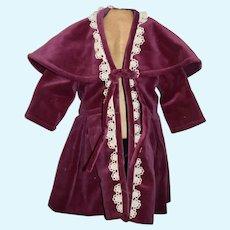 Lovely Doll Velvet Jacket Swing Coat W/ Cape Collar