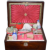 Antique Wood Sewing Box Kit Mother of Pearl Inlaid Gorgeous W/ WONDERFUL Accessories
