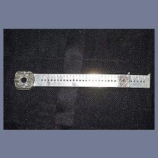 Antique 1894 Sewing Gauge Ruler Pelouze MFG. Co. Chicago Silver Ornate Measuring