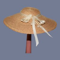Fancy Doll Straw Hat Bonnet Wide Brim For Petite Doll
