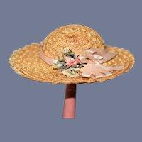 Vintage Straw Doll Bonnet High Brim W/ Flowers and Ribbon
