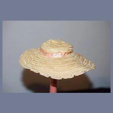 Fancy Old Straw Hat Bonnet W/ Satin Bow Wide Brim