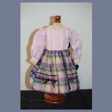 Sweet Hand Made Fancy Doll Dress Petite Doll Plaid Lace Bows