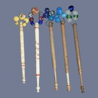 Antique Lace Bobbins Lot Carved Engraved Fancy Folk Art 1871 Names Date Glass Beads Sewing