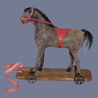 Old Miniature Pull Toy Horse on Wood Plank W/ Wheels For Petite Doll