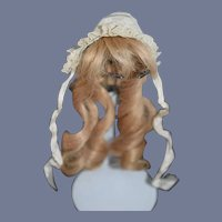 Sweet French Human Hair Wig and Old Lace Bonnet For Petite Doll Fashion Doll