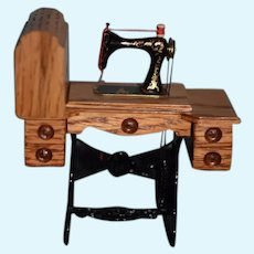 Vintage Artist Wonderful Zack Fox Metal and Wood Miniature Sewing Machine W/ Covered Top Signed Dated Doll