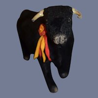 Unusual Old Bull Glass Eyes Papier Mache Doll Size