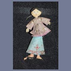 Old Wonderful Miniature Oriental Doll Needle Holder Sewing