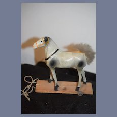 Old Doll Horse Pull Toy on Wood Plank W/ Tin Wheels Miniature Papier Mache