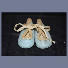 Wonderful Blue Leather Shoes for Doll W/ Lace