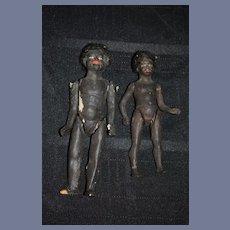 Antique Doll Set TWO Black Dolls Papier Mache Unusual Folk Art